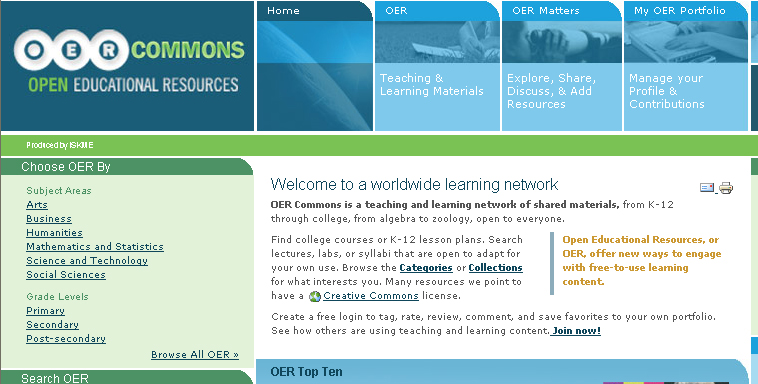 home page del sito OER