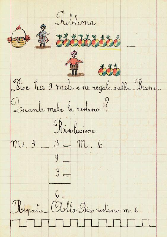 foglio di quaderno con problema di matematica