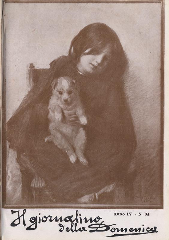 ritratto di bambina con cane in braccio; copertira de