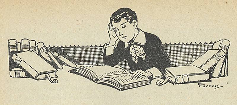 immagine da un libro del 1924, raffigurante un bambino che studia