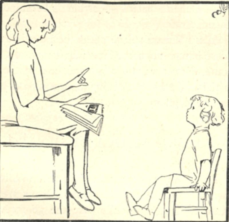 donna che legge un libro ad un bambino, usando anche i gesti