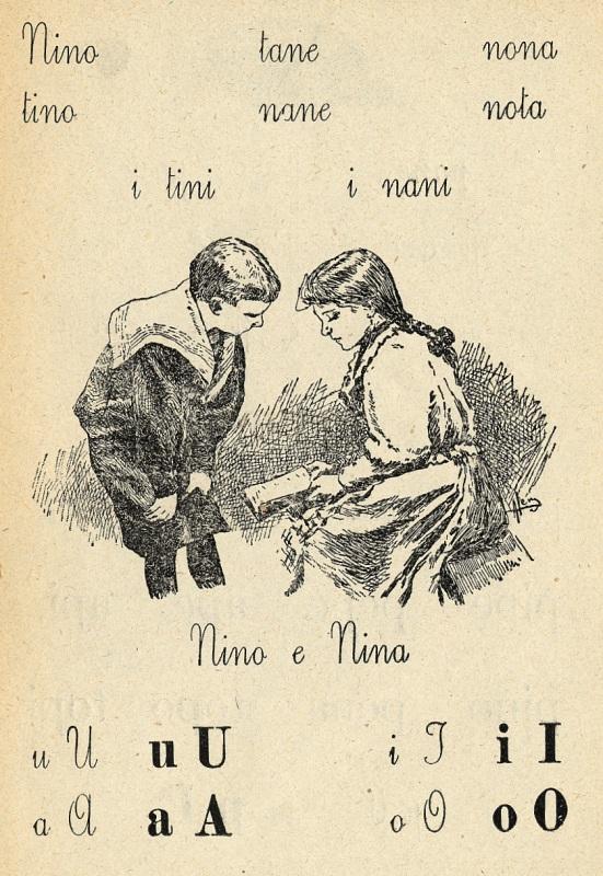 pagina illustrata del libro Per imparare a leggere e scrivere; nino e nina, due fanciulli