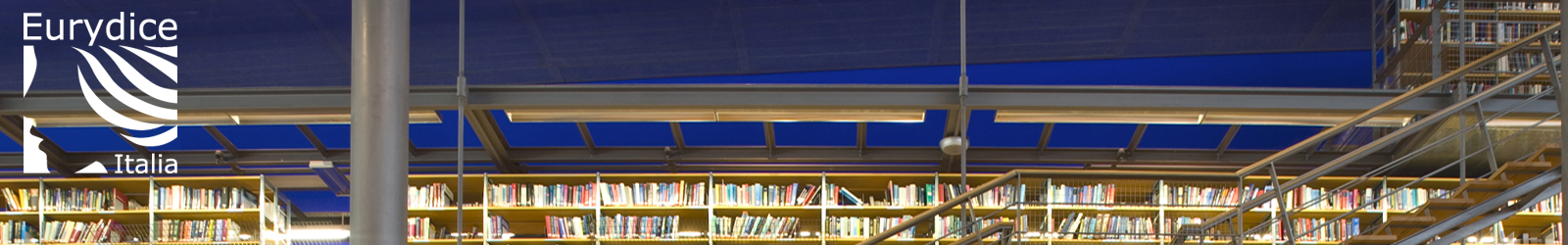 logo eurydice sullo sfondo di una biblioteca