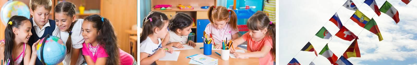 studenti in classe con il mappamondo