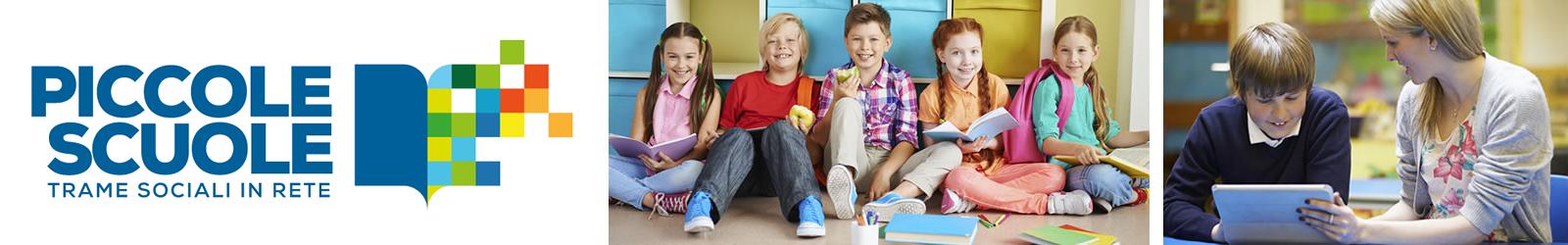 logo piuccole scuole e foto di ragazzi a scuola