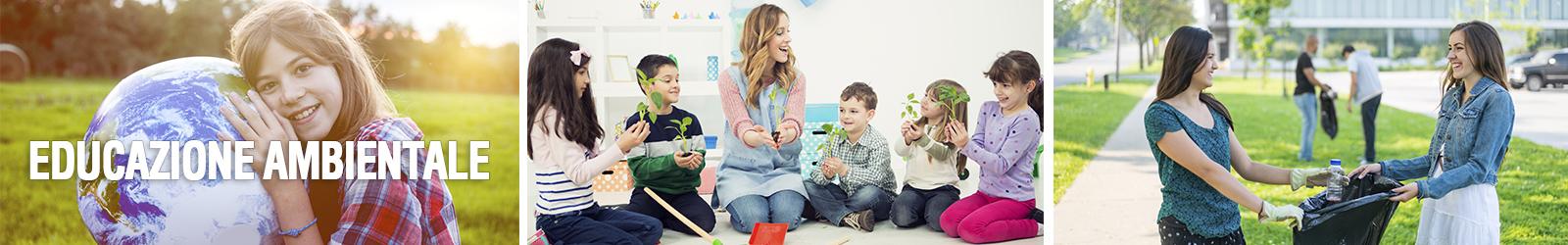 immagini di educazione ambientale a scuola: studentessa abbraccia il mondo, studenti fanno crescere delle piantine in classe, raccolta rifiuti