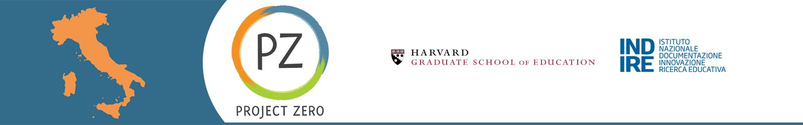 projet zero logo, harvard university logo e indire logo